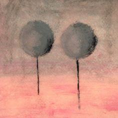Fade Pink  Black Grey Trees Painting. Nude by LisbonStore on Etsy, $30.00