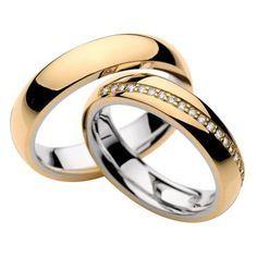 Aliança de casamento misto (ouro amarelo e branco) com 20 diamantes e acabamento polido ! Engagement Rings Couple, Couple Rings, Wedding Engagement, Ring Ring, Couple Ring Design, Wedding Jewelry, Wedding Rings, Beautiful Diamond Rings, Gold Rings Jewelry