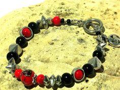OOAK BLACK & RED Steampunk Handmade  Bracelet by blingo10 on Etsy
