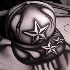 Airbrushed Nautical Star Snapback Hat Hand Painted airbrush