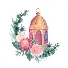 Eid Wallpaper, Ramadan Kareem Pictures, Ramadan Cards, Flower Graphic Design, Eid Stickers, Ramadan Background, Flower Drawing Tutorials, Eid Crafts, Watercolor Paintings For Beginners