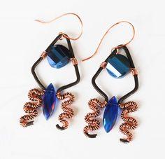 Navy Blue Crystals Wire Wrap Unique OOAK Lace Earrings Jeanninehandmade Jewelry #Jeanninehandmade #Wrap