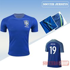 2f1607e3ee403 Latest Best Brazil Blue 2016 2017 Away Soccer Jersey With Willian 19  Printing