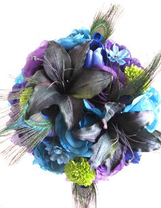 Wedding Bouquet Bridal Silk Flowers Purple Turquoise Royal Peacock Lily