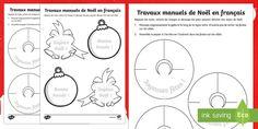 Travaux manuels de Noël en français. Parfait pour les nounous, le primaire, la maternelle ou même en tant qu'activité à la garderie !