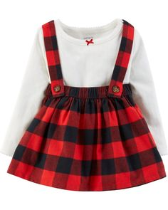 Baby Girl 2-Piece Bodysuit & Suspender Skirt Set | Carters.com