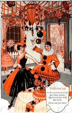 """thecyberflaneur: """" Tips on how to organize a Halloween party in the It's striking that the man's costume is basically a black and orange Pierrot, not something you see often these. Halloween Clown, Halloween Tags, Image Halloween, Vintage Halloween Images, Vintage Halloween Decorations, Theme Halloween, Halloween Party Costumes, Halloween Pictures, Vintage Holiday"""