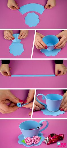 Cool Paper Crafts, Paper Crafts Origami, Diy Arts And Crafts, Crafts For Kids, Diy Crafts, Tea Party Crafts, Craft Party, Thali Decoration Ideas, Vintage Tea Parties