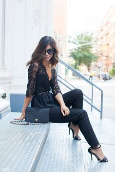 spring / summer - street style - street chic style - summer outfits - party outfits - work outtfits - black lace jumpsuit + black ankle strap heeled sandals + black quilted shoulder bag + black sunglasses