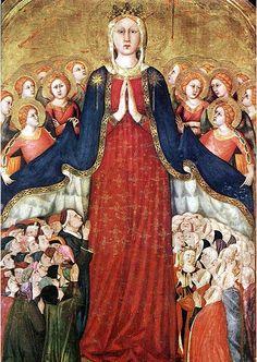 Fresco by Lippo Memmi (1291-1356), 1350s, Madonna dei raccomandati, Orvieto, Italy.