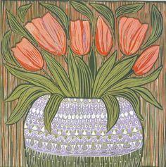 linocut, tulips, orange, purple, printmaking, home interior, flowers, interior decorating, blooms, vase, lavender, green, still life,