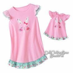 bd1bf8b005 Bunny Rabbit Nightgown Size 7  amp  Matching Doll American Girl or Bitty  Baby  JumpingBeans