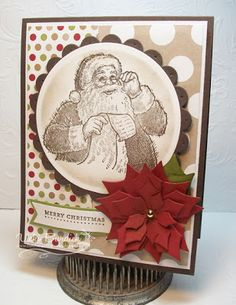 Wednesday, August 14, 2013  Santa's List | Early Espresso card stock base, then a layer of  white and the DSP from the new Season of Style pack.  Santa image stamped with Early Espresso ink onto Whisper White Card stock, cut out with circle and scallop circle nesties. Spellbinders Layered Poinsettia Die with Cherry Cobbler and Old Olive card stock, sponged edges with the coordinating ink and added a gold sticky pearl to the center. The sentiment is from the Teeny Tiny Wishes stamp set.