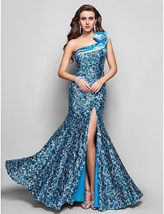 Vestido de Noite Comprido com Lantejoulas (Um Ombro) - BRL R$ 319,25