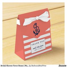 Bridal Shower Favor Boxes | Nautical Girl Coral
