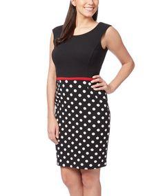 Black & White Polka Dot Sheath Dress - Plus Too #zulily #zulilyfinds