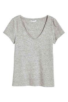 V-neck jersey top - Grey marl - Ladies | H&M