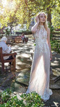 riki dalal fall 2017 bridal sleeveless halter neck heavily embellished bodice romantic elegant sheath wedding dress low back chapel train (1904) mv