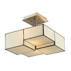 Braque Collection 2-Light Brushed Nickel Semi Flush Mount Light