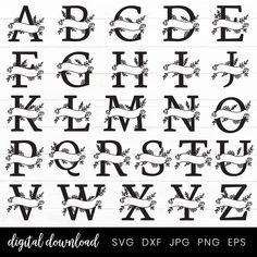 Pretty Fonts Alphabet, Hand Lettering Alphabet, Calligraphy Alphabet, Calligraphy Fonts, Hand Drawn Lettering, Cricut Monogram, Monogram Fonts, Monogram Letters, Wood Letters