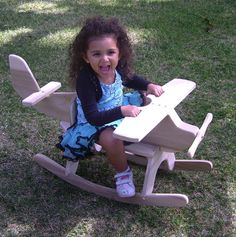 Wooden airplane rocking toys