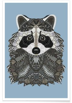 Tangled Raccoon als Premium Poster von Angelika Parker | JUNIQE