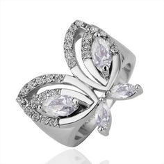 AEKK Platinum Butterfly Love Ring,Follow AEKK On pinterest to get exquisite free gift and enter AEKK5 at checkout,save you $5.