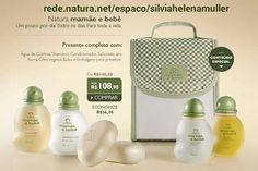 #redenaturasilviahelenamuller Compre online - Presente Natura Mamãe e Bebê - Shampoo + Condicionador + Sabonete + Colônia + Óleo + Bolsa + Embalagem de R$ 115,20 por R$ 108,90 ou 3x de R$ 36,30 sem juros no cartão de crédito! Promoção válida até o dia 06 de julho ou enquanto durarem os estoques para compras realizadas no site: http://rede.natura.net/espaco/silviahelenamuller/presente-natura-mamae-e-bebe-shampoo-condicionador-sabonete-colonia-oleo-bolsa-embalagem-pid52168?_requestid=382245