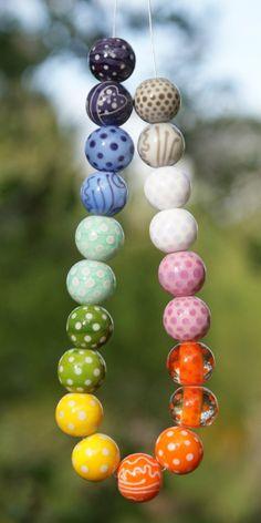 """""""Catcathie"""" 10 paires de perles de verre, filées au chalumeau"""