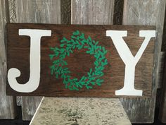 JOY Wreath Wooden Christmas Sign by FearfullyMadeCo on Etsy