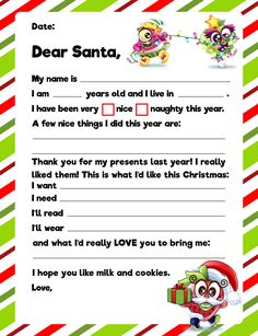 Tell Santa exactly what you want this year with this easy to fill, printable sheet. But hurry! Santa is making toys and packing his sled for his big trip. After all, Christmas is only a few days away!