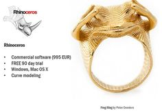 Rhinoceros | Most Popular 3D Modeling Programs For Jewelry Designers #3dprinting… Rhino Architecture, 3d Modeling Programs, Software, 3d Printed Jewelry, Rhinoceros, Popular, Digital Prints, 3d Printing, Jewelry Design