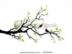 Spring, Love Birds Sitting On A Tree, colors: brown, green, blue, dark rich colors