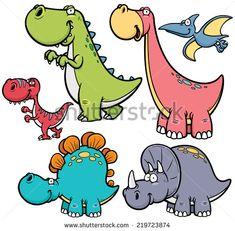Vector illustration of Dinosaurs cartoon characters