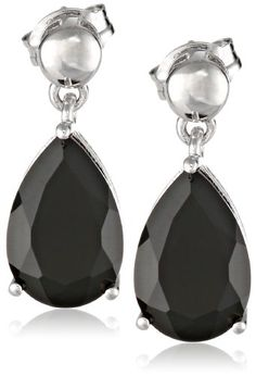 Sterling Silver Black Onyx Pear Shaped Dangle Earrings - http://www.loveuniquerings.com/pear-shaped-engagement-rings/sterling-silver-black-onyx-pear-shaped-dangle-earrings/