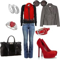 Red/Black/Grey, created by wcatterton.polyvore.com