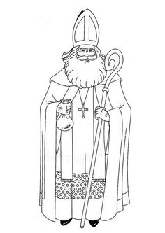 Coloring page Saint Nicholas - coloring picture Saint Nicholas. Free coloring sheets to print and download. Images for schools and education - teaching materials. Img 8884.