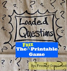 Loaded Questions -- A Free Printable Game Mutual Activities, Youth Group Activities, Youth Games, Young Women Activities, Games For Teens, Youth Groups, Therapy Activities, Teen Activities, Icebreaker Activities