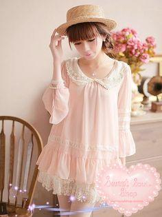 Romantic Pearl Collar Peach Dress Blouse