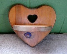Wood Heart Wall shelf, Vintage, hand made, 1980s, good condition