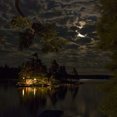 nighttime at the cottage on the lake island, Ontario okay i plain on doing this one oh yes can't wait this summer :)