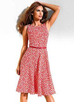 Coral Dotty Georgette Dress