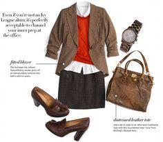 "Cozy ""professor"" blazer and a dash of red..."