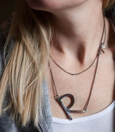 Small & Large Hammered Sideways Initial Necklace, sterling silver letter initial oversized monogram sideways letter layering necklace short