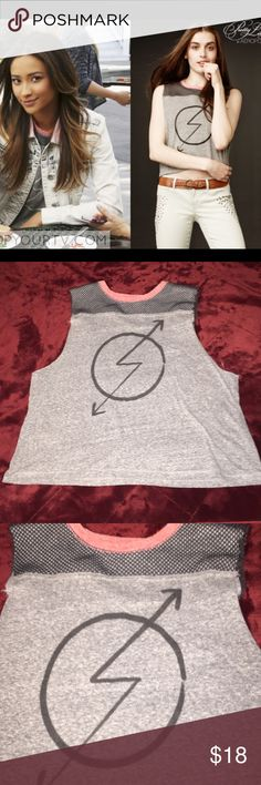 Pretty Little Liars mesh tank This is a graphic mesh tank from Pretty Little Liars.. this is gray, slightly cropped, muscle tank with a pop of coral around neck and mesh at shoulders.. really cute and great condition Pretty Little Liars Tops Tank Tops