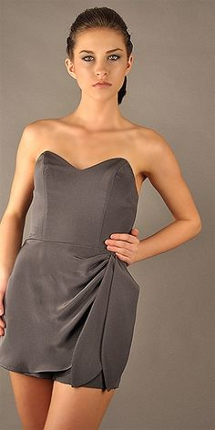 JENNIFER HOPE sweetheart skort romper drapes and gathers to one side with two hanging silk sashes. - Hidden zipper