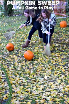 Kids and Adults of all ages will have fun playing this Pumpkin Sweep - A Great Fall, Halloween and Thanksgiving Game to play. Harvest Festival Games, Harvest Games, Fall Festival Games, Fall Festivals, Fall Festival Decorations, Fall Party Games, Fall Games, Teen Party Games, Kids Birthday Party Games
