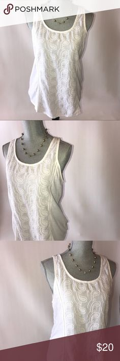 Lucky Brand Tank Top White lucky brand patterned tank top with matching necklace and earrings Lucky Brand Tops Tank Tops