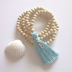 long tassel necklace, mermaid jewelry, beachcomber mermaid necklace , inspired by buddhist mala beads