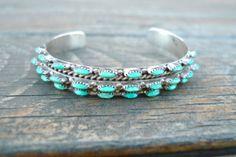 Beautiful Sterling Silver Zuni Turquoise Cuff Bracelet by Zengata, $62.00